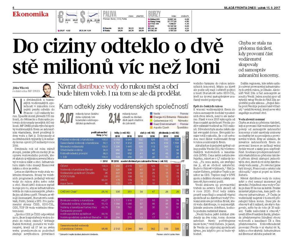 Čí zájmy hájí v českém vodárenství Ing. Dan Jiránek? Vaku Kladno, Veolie nebo D. Jiránka?