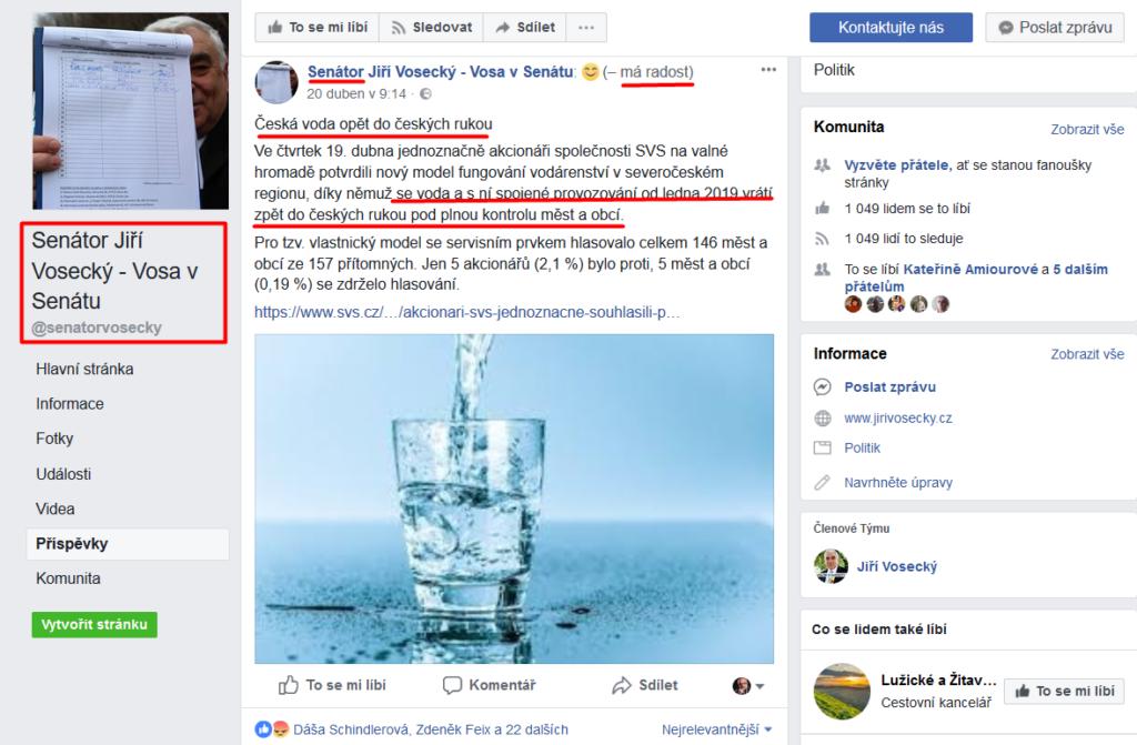 Senátor vosecký - scvak - voda se vrací