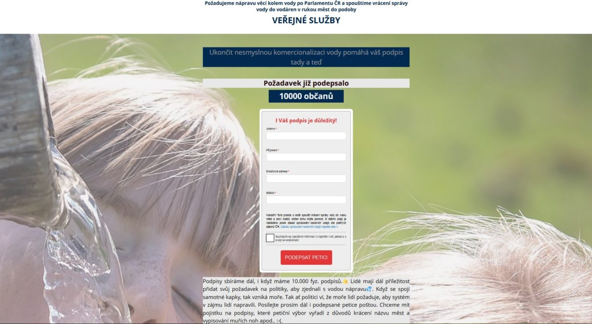 10.000 podpisů: Boj o českou vodu a za zájmy občanů České republiky bude probíhat i v Parlamentu ČR