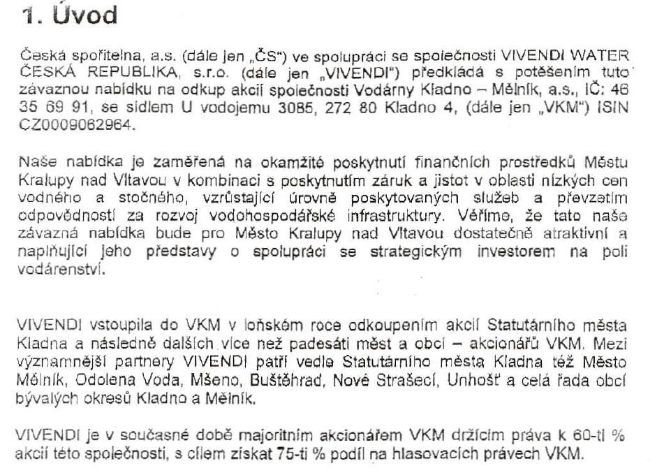 .6.03 – Veolie okoupila akcie a je majoritním akcionářem VKM