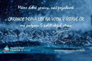 Úspěch NFPOV: prosazení garance práva lidí na vodu v Ústavě ČR