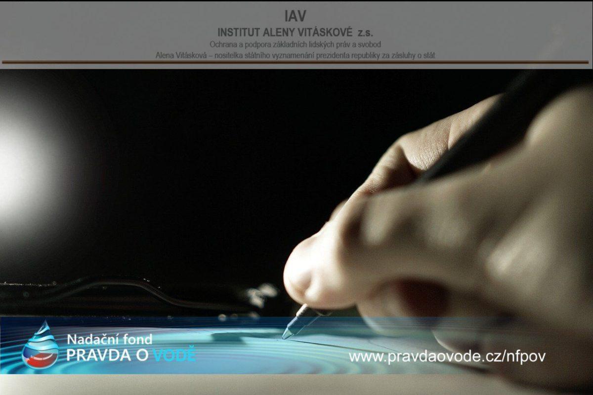 Tisková zpráva 16. 8. 2019: Nadační fond PRAVDA O VODĚ a Institut Aleny Vitáskové