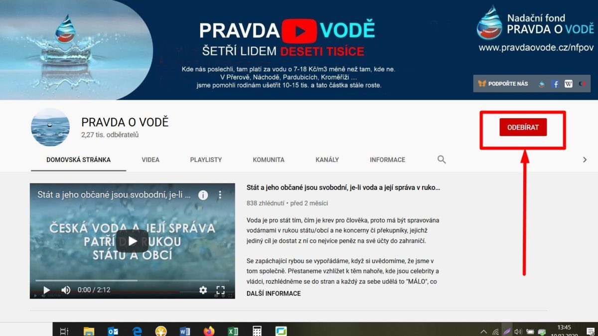 """Chci pomoct bránit vodu, proto sleduji kanál PRAVDA O VODĚ na Youtube a videa k tématů """"voda"""""""