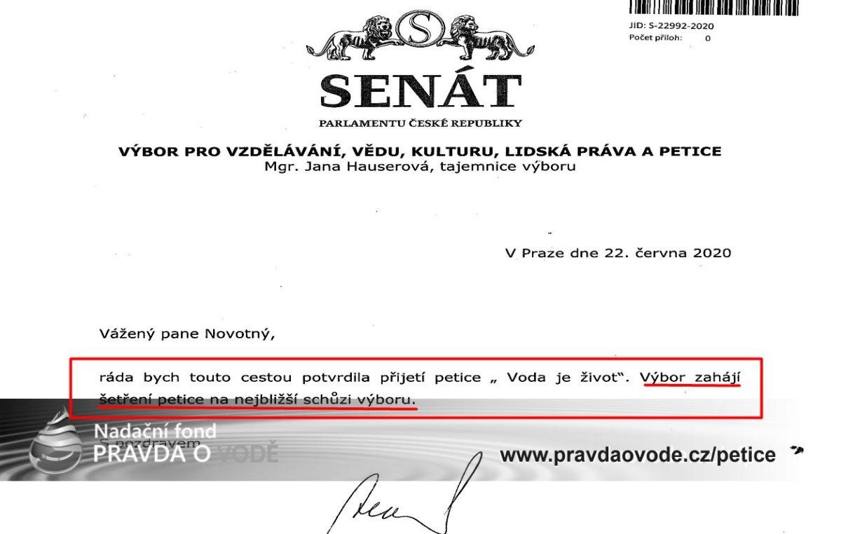Senát ČR potvrdil převzetí petice VODA JE ŽIVOT a bude ji projednávat …
