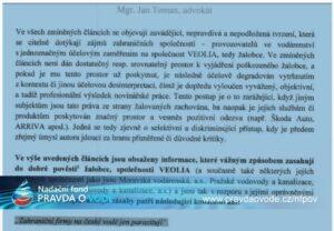 Žaloba Veolie na novináře, který psal o vodě