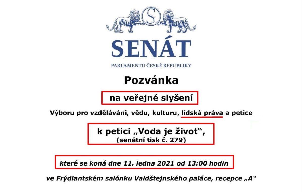 11.1.2021 jste zvaní na veřejné projednávání petice VODA JE ŽIVOT v Senátu ČR