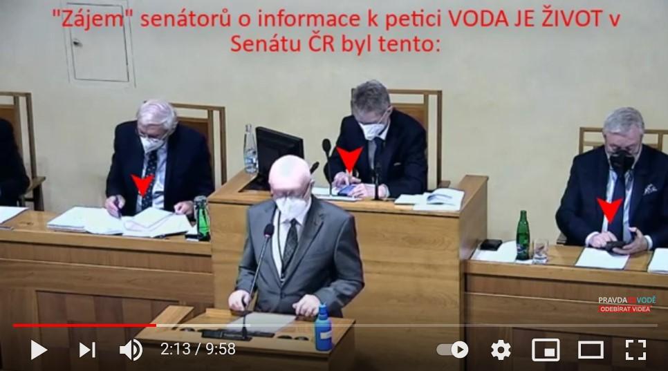 Projednání petice VODA JE ŽIVOT – v senátu, byl v 51 případech rozhovor s hluchými, kteří ani nečtou a neověřují