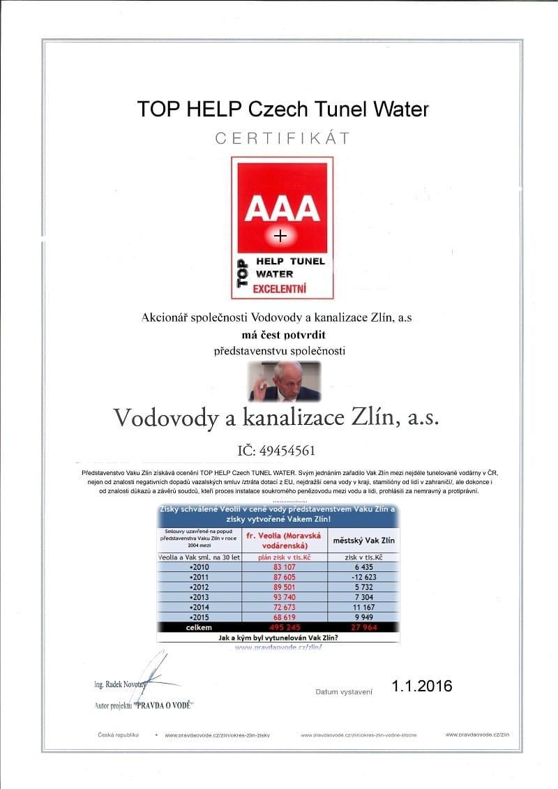 certifikát - představenstvu - TOP HELP CZECH TUNEL WATER 800
